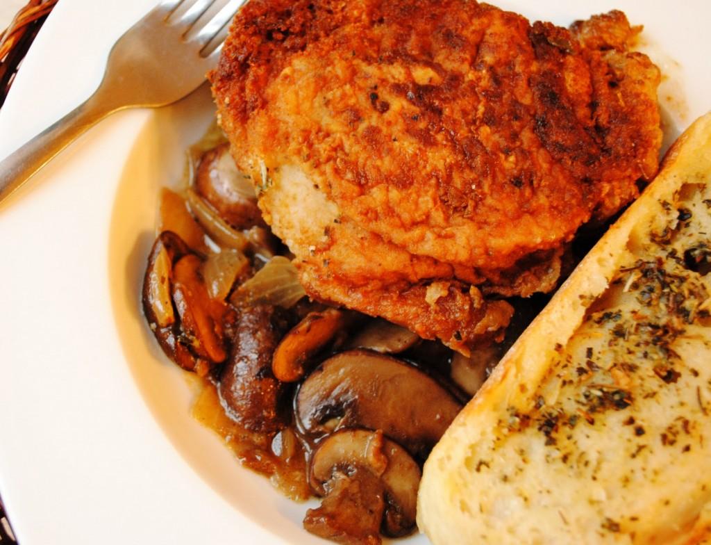 Пушено пиле с гъби